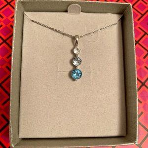 Blue and White Topaz Three Stone Pendant Necklace